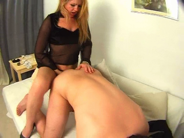 Domineering Blonde MILF Strapon Pegging Younger Guys Ass