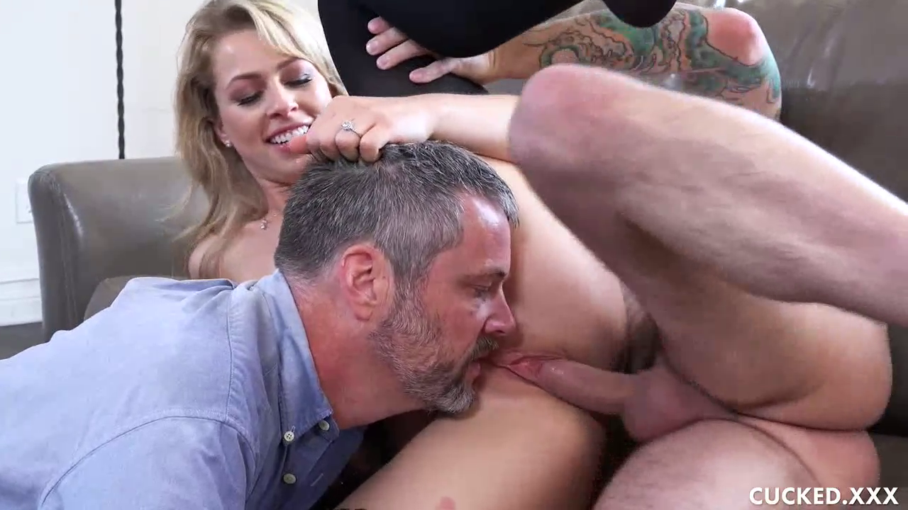 FreePornSiteRips.com - Hot Blonde MILF Wife Taking Other Guy's Cock While Her Cuckold Husband Watches